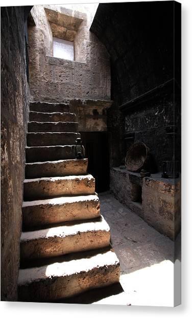 Stone Stairs At Santa Catalina Monastery Canvas Print