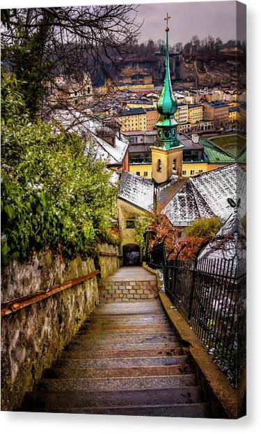 Romanesque Art Canvas Print - Stone Steps Of Kapuzinerberg Salzburg In Winter by Carol Japp