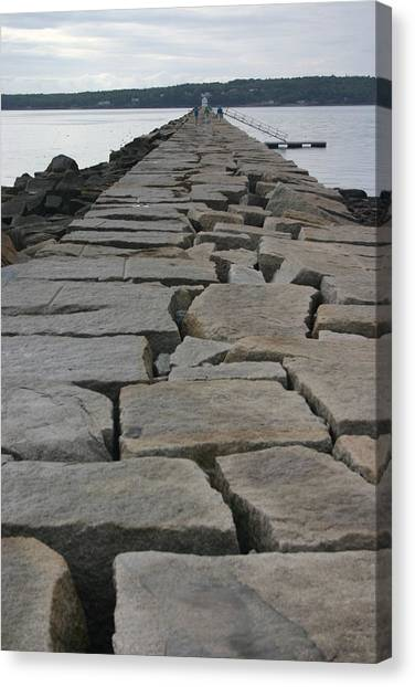 Stone Walk To Light House Canvas Print by Dennis Curry