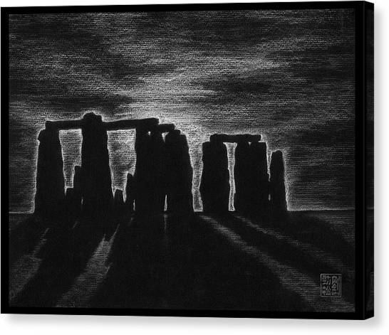 Stonehenge In Black And White Canvas Print