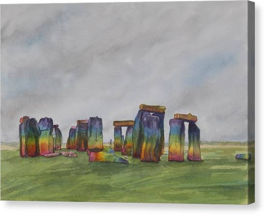 Stonehenge Rainbow Canvas Print by Debbie Homewood