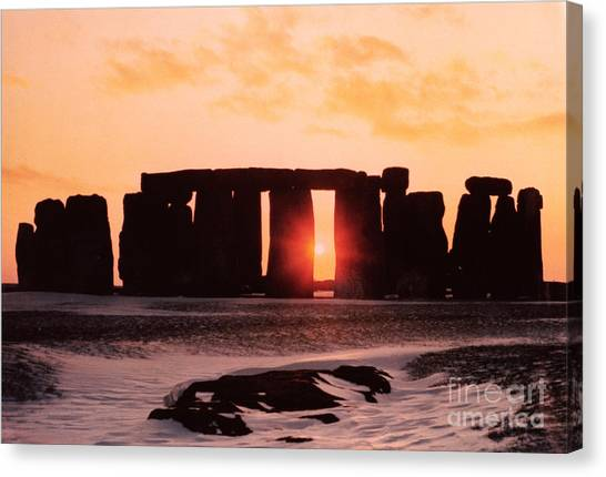 Prehistoric Canvas Print - Stonehenge Winter Solstice by English School