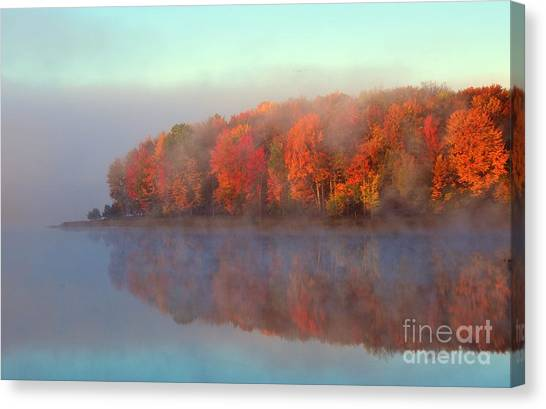 Stoneledge Lake Pristine Beauty In The Fog Canvas Print