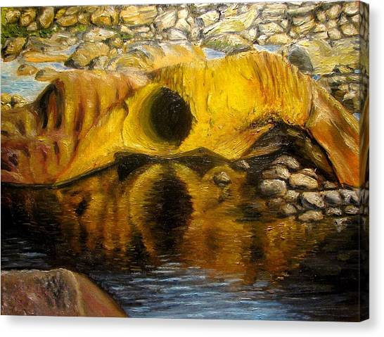 Stones Ocoee River In Tennessee Landscape Original Oil Paintings Canvas Print by Natalja Picugina