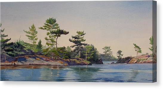 Stoney Lake Morning Canvas Print by Debbie Homewood