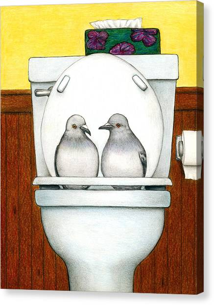 Pigeons Canvas Print - Stool Pigeon by Don McMahon