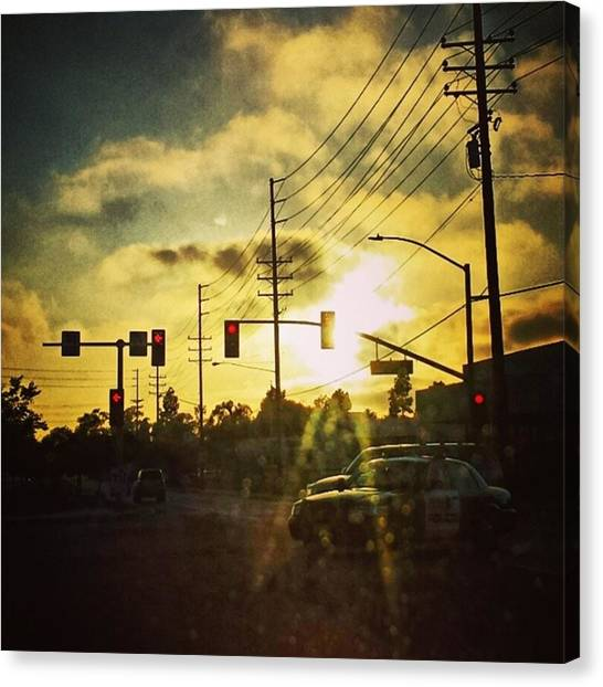 Stoplights Canvas Print - Stop. Light. #sunset #stoplight by Matthew Gilbert