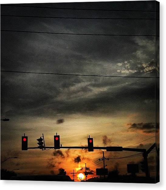 Stoplights Canvas Print - Stop! The Sun Is Setting. #redlight by Britt Bassil