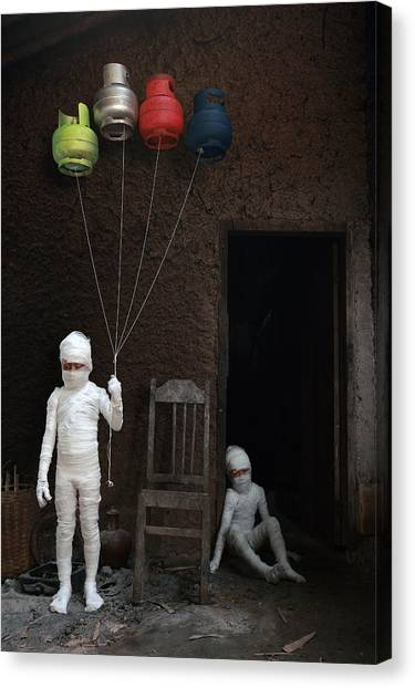 Conceptual Art Canvas Print - Stop... (victims Of Gas Cylinders) by Andre Arment