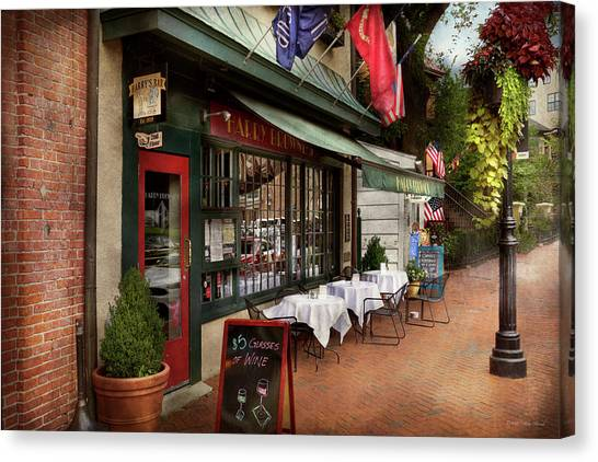 Pavers Canvas Print - Store Front - Annapolis Md - Harry Brownes by Mike Savad