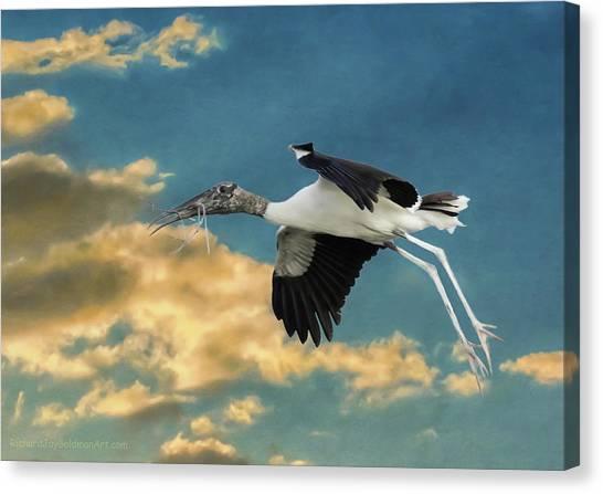 Stork Bringing Nesting Material Canvas Print