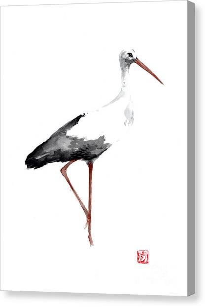 Storks Canvas Print - Stork Watercolor Art Print Painting by Joanna Szmerdt