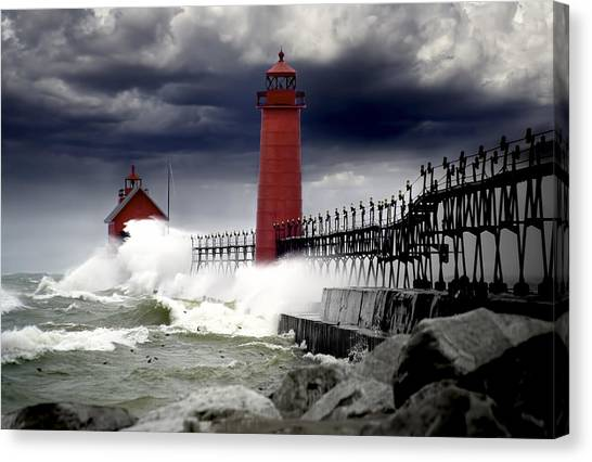 Storm At The Grand Haven Lighthouse Canvas Print