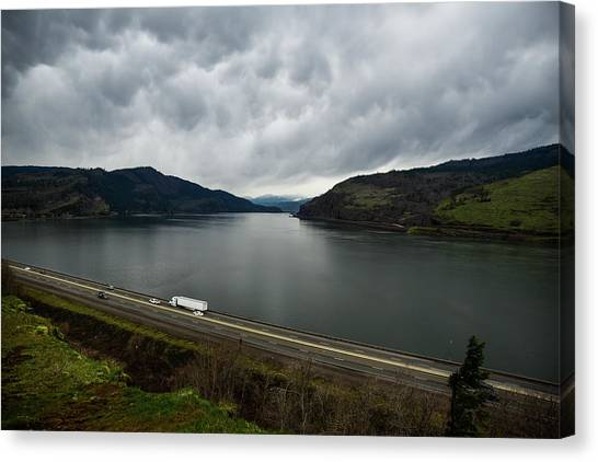 Storm Brewing On The Columbia Canvas Print