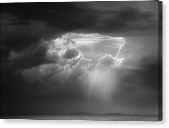Canvas Print featuring the photograph Storm Clouds Clearing by Michael Hubley