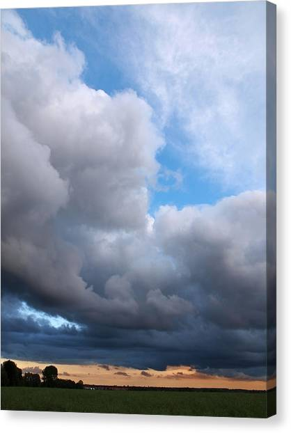 Prairie Sunsets Canvas Print - Storm Clouds Falling Vertical by Gill Billington