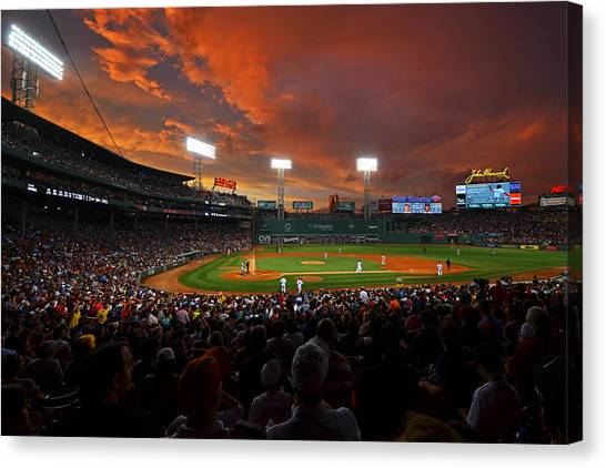 Fenway Canvas Print - Storm Clouds Over Fenway Park by Toby McGuire
