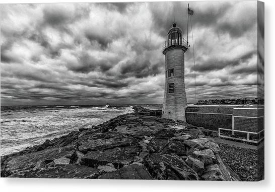 Storm Clouds Over Old Scituate Lighthouse In Black And White Canvas Print