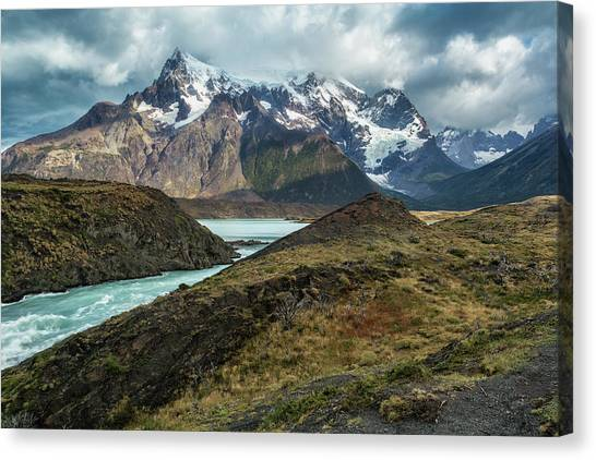 Canvas Print featuring the photograph Storm Clouds Over The Cuernos by Stuart Gordon