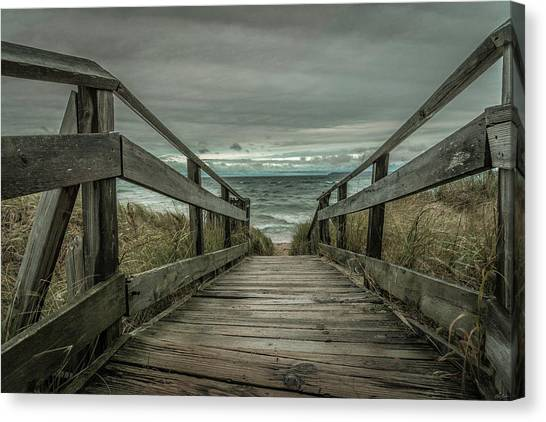 Canvas Print featuring the photograph Storm Front On Lake Michigan by Owen Weber