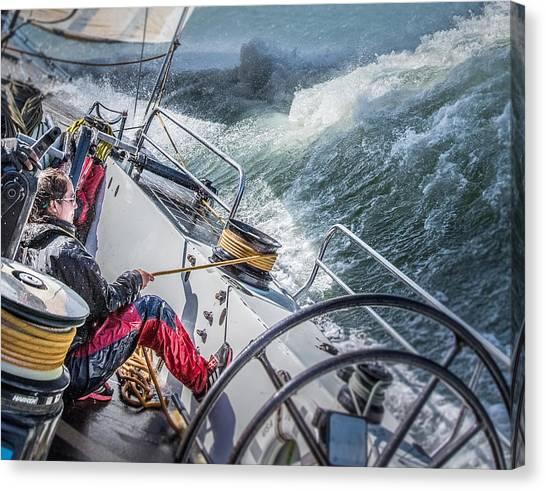 Sailing Canvas Print - Storm In San Francisco Bay by Michael Delman