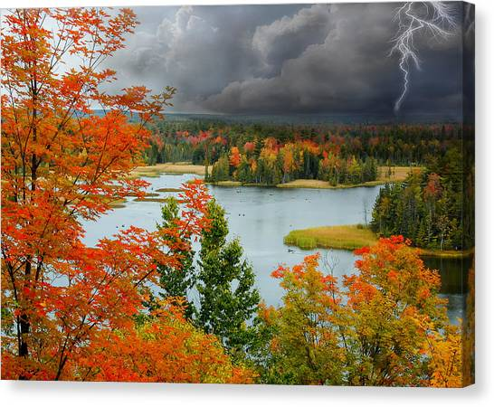 Canvas Print - Storm Over Ausable River by Peg Runyan