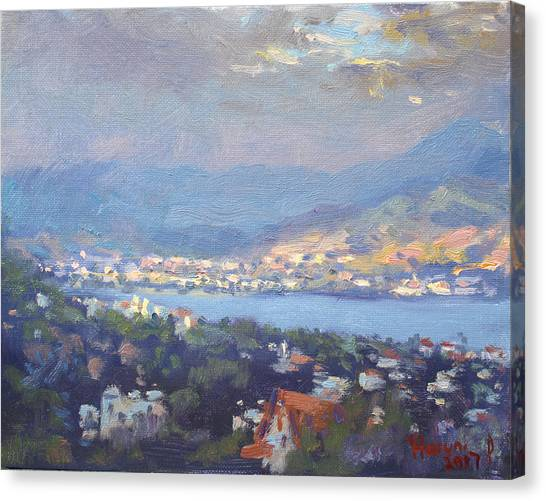 Athens Canvas Print - Storm Over Dilesi And Evia Island  by Ylli Haruni