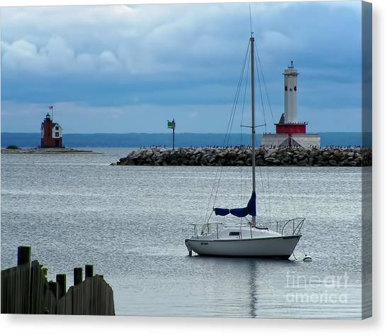Lake Huron Canvas Print - Storm Over Mackinac by Pamela Baker