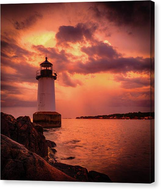 Lighthouses Canvas Print - Storm Passes Winter Island And Fort by Jeff Foliage