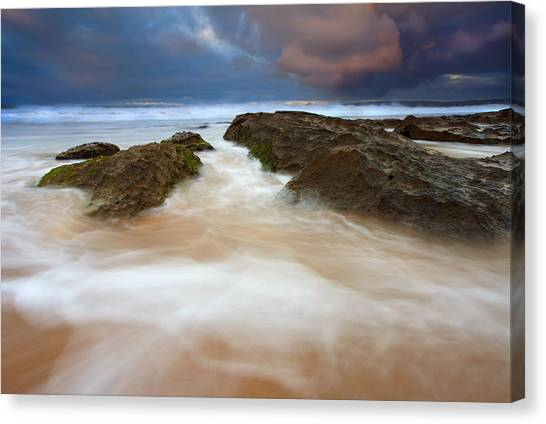 Beach Sunrises Canvas Print - Storm Shadow by Mike  Dawson