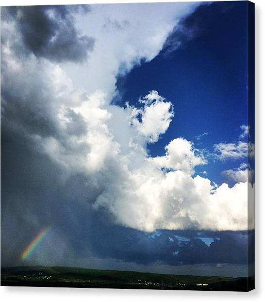 Rainbows Canvas Print - #storm #sky #clouds #blue #rainbow by Jakub Horsky