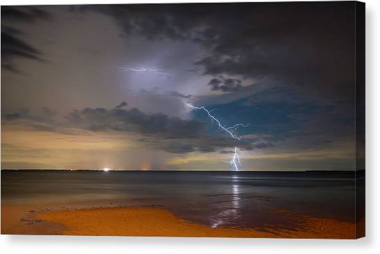 Tampa Bay Lightning Canvas Print - Storm Tension by Marvin Spates