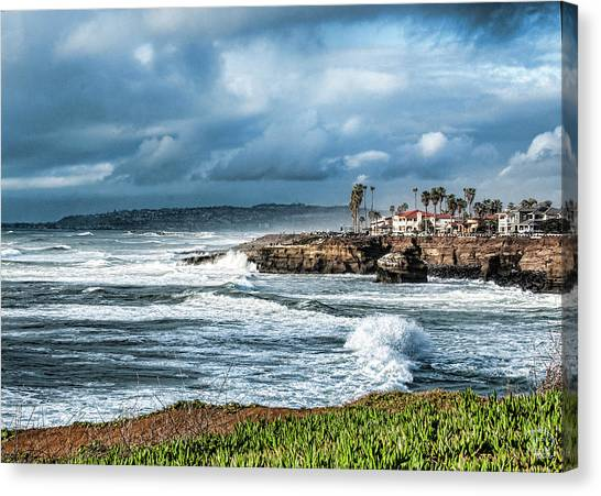 Storm Wave At Sunset Cliffs Canvas Print