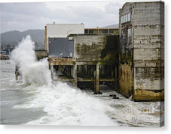 Storm Waves Hit Aeneas Ruins At Cannery Row Canvas Print