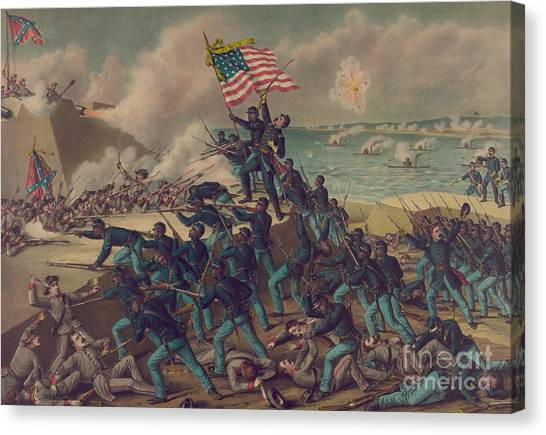 Volunteer Infantry Canvas Print - Storming Fort Wagner by Kurz and Allison