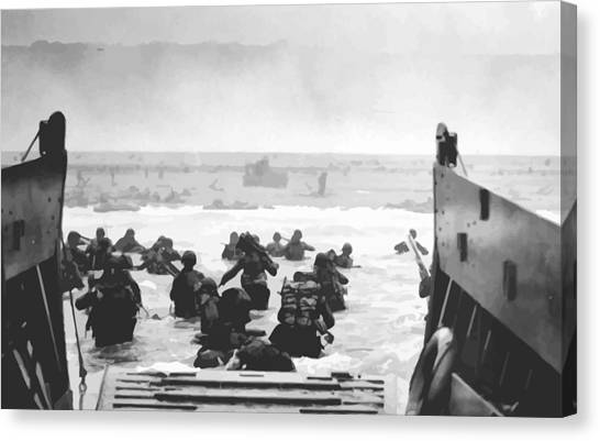 Air Force Canvas Print - Storming The Beach On D-day  by War Is Hell Store