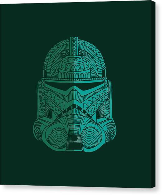 Stormtrooper Helmet - Star Wars Art - Blue Green Canvas Print