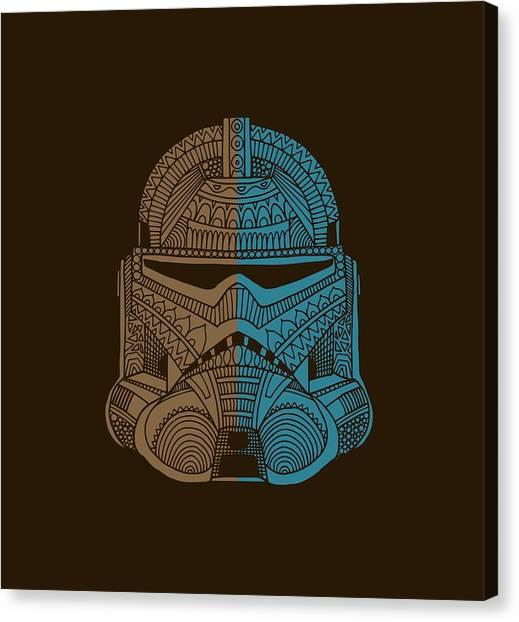 Stormtrooper Canvas Print - Stormtrooper Helmet - Star Wars Art - Brown Blue by Studio Grafiikka