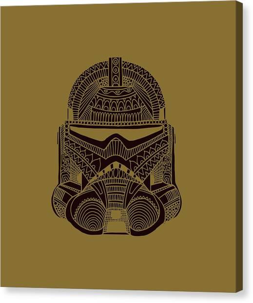Stormtrooper Canvas Print - Stormtrooper Helmet - Star Wars Art - Brown  by Studio Grafiikka