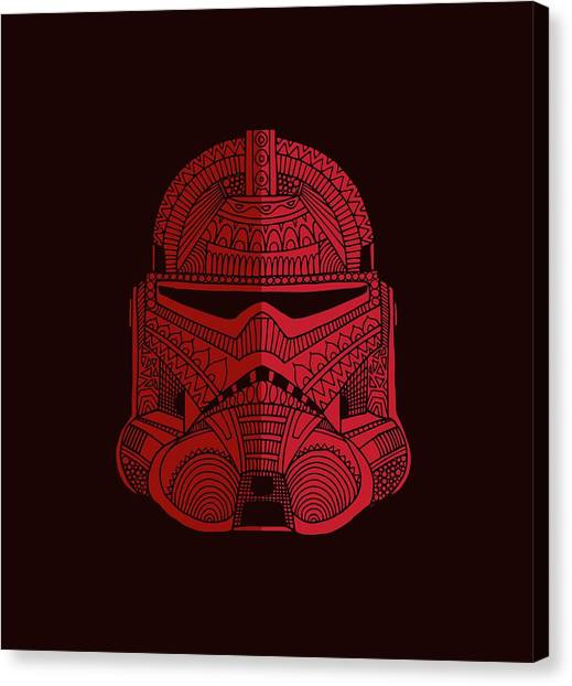 Stormtrooper Canvas Print - Stormtrooper Helmet - Star Wars Art - Red by Studio Grafiikka