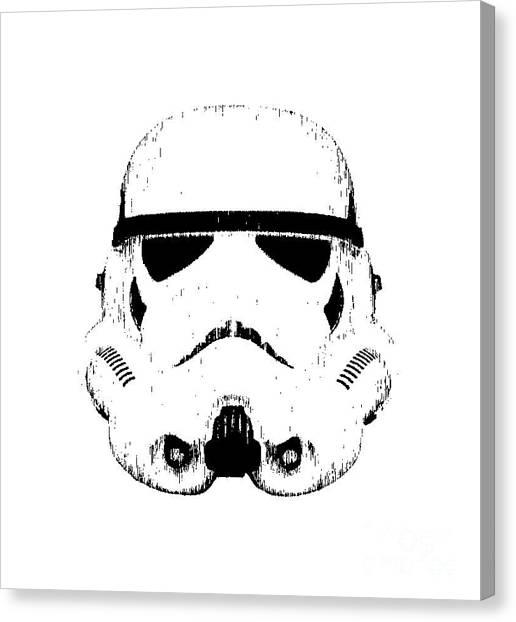 Canvas Print featuring the digital art Stormtrooper Helmet Star Wars Tee Black Ink by Edward Fielding