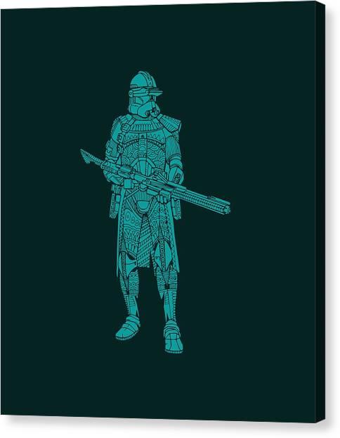 Stormtrooper Canvas Print - Stormtrooper Samurai - Star Wars Art - Blue 03 by Studio Grafiikka