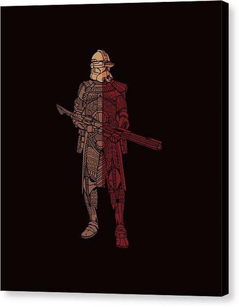 Stormtrooper Canvas Print - Stormtrooper Samurai - Star Wars Art - Red Brown by Studio Grafiikka