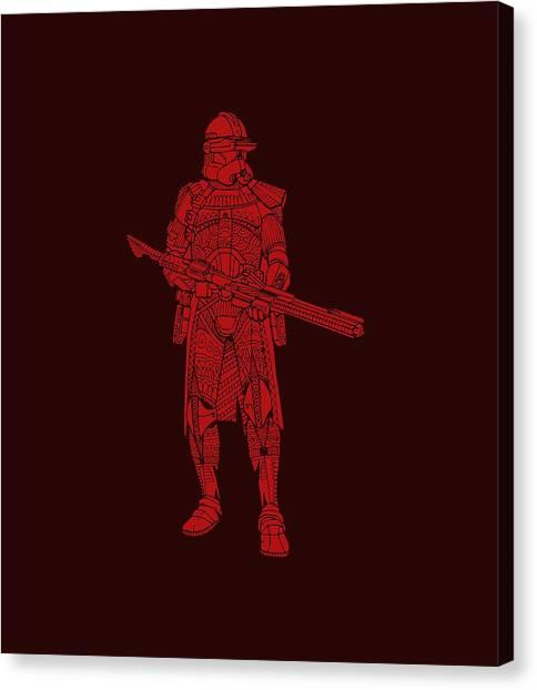 Stormtrooper Canvas Print - Stormtrooper Samurai - Star Wars Art - Red by Studio Grafiikka