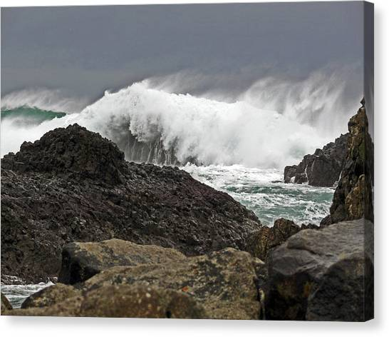 Stormy Day At Ballintoy Harbour Canvas Print