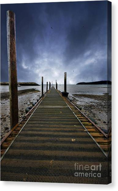 Angling Canvas Print - Stormy Jetty by Meirion Matthias
