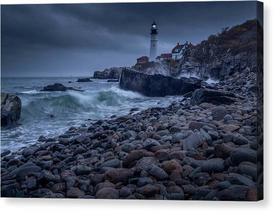 Canvas Print featuring the photograph Stormy Lighthouse by Doug Camara