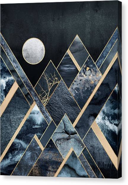 Moon Canvas Print - Stormy Mountains by Elisabeth Fredriksson