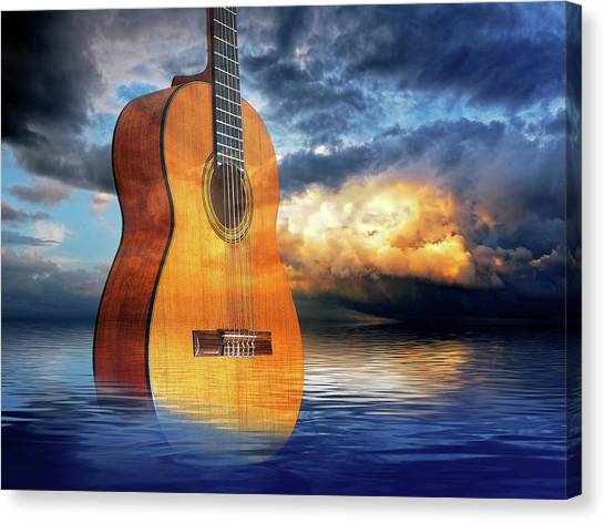 Classical Guitars Canvas Print - Stormy Night Blues by Gill Billington