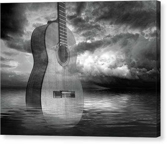 Classical Guitars Canvas Print - Stormy Night Blues - Acoustic Guitar In Black And White by Gill Billington